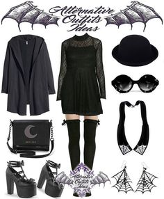 Dress from @gypsywarrior Stockings from @hottopic Cardigan from @hm Hat found on #ebay Sunglasses from @spitfireinteriors Jewelry from @cherryloco_jewellery Handbag from @killstarco Shoes from @demonia.shoes