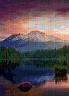 Mount Shasta California landscape Cross Stitch pattern PDF - Instant Download! by PenumbraCharts on Etsy