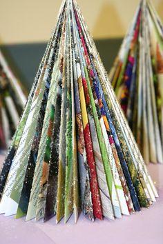 Magazine Christmas Tree au naturel and sprinkled with glitter. Splish Splash Splatter: Recycled Art