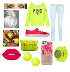 """""""Neon"""" by sadiemay42 ❤ liked on Polyvore featuring Frame Denim, Lime Crime, Everlast, Casetify, Vans and Alexis Bittar"""