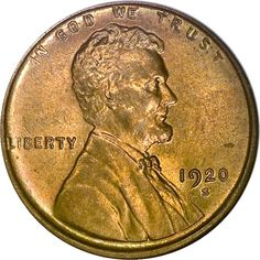Lincoln Cents, Wheat Reverse, 1920 S 1C MS
