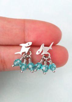 Small Shark Earrings - Silver Shark with Swarovski Aquamarine crystal beads, Dainty cute shark fish ocean sea beach fun chic jewelry, www.colormemissy.com