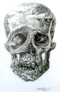 A skull with with life above the ocean waves. Below there are sharks ,sea turtles, fish and lots of small skulls beneath those rolling waves! This is one fantastically detailed skull! Kunst Tattoos, Skull Tattoos, Sleeve Tattoos, Hand Tattoos, Tatoos, Surf Tattoo, Totenkopf Tattoos, Skull And Bones, Dark Art