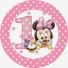 Minnie Primer Año con Lunares: Etiquetas para Candy Bar para Imprimir Gratis.   Oh My Bebé!