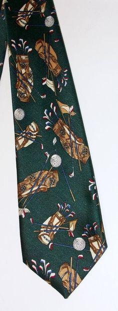 Golf Bag Tie Renaissance Necktie Classic Green Caddy Golfball Tee Novelty  #Renaissance #NeckTie