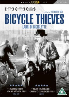 The Bicycle Thieves (1948) (Italian: Ladri di biciclette), also known as The Bicycle Thief, is director Vittorio De Sica's 1948 story of a poor father searching post-World War II Rome for his stolen bicycle, without which he will lose the job which was to be the salvation of his young family.