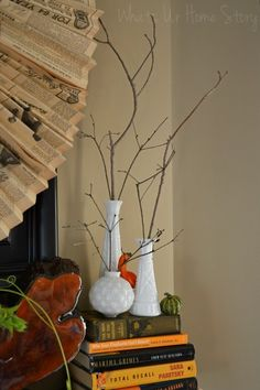 Rustic Fall Decor -Twigs from the yard in Milk glass vases -Whats Ur Home Story