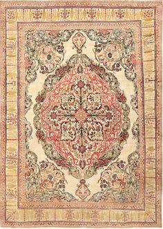 Antique Persian Kerman Rug, Country of Origin: Persia, Circa Date: Late 19th Century  9 ft x 12 ft 4 in (2.74 m x 3.76 m)
