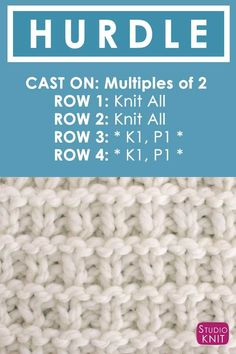 Knitting Instructions How to Knit the Hurdle Stitch with Free Written Pattern and Video Tutorial by Studio Knit.