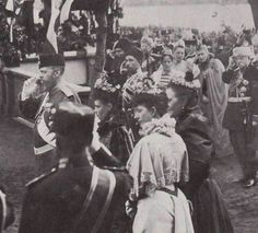 Tsar Alexander III during his last official public appearance, 1894 - with him is Empress Marie, Queen Olga of Greece, and Queen Alexandra of the United Kingdom