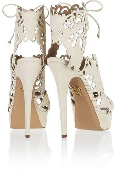 Charlotte Olympia|Belinda cutout suede sandals|NET-A-PORTER.COM