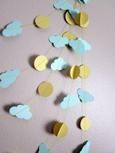 Clouds Garland - Sunshine Paper Garland - Party Decoration - Sunshine on a Cloudy Day. $9.00, via Etsy.