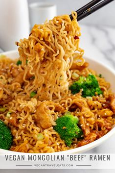 """recipes for dinner easy meal ideas Vegan Mongolian """"Beef"""" Ramen Vegan Dinner Recipes, Veggie Recipes, Beef Recipes, Whole Food Recipes, Vegetarian Recipes, Cooking Recipes, Burger Recipes, Asian Recipes, Healthy Recipes"""