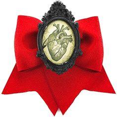 Project Pinup Anatomical Human Heart Cameo Blood Red Ribbon Hair Bow Clip | eBay #gurololita