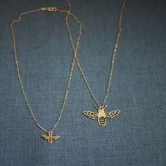 Tiny Bee Necklace - Gold - from Prismera Designs - $35