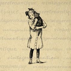 Girl with Kitten Graphic Digital Download by VintageRetroAntique