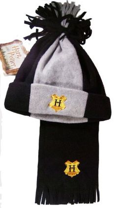 Harry Potter Fleece Gray & Black Hat & Scarf Set with Hogwarts H Embroidery @ niftywarehouse.com #NiftyWarehouse #HarryPotter #Wizards #Books #Movies #Sorcerer #Wizard