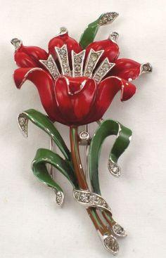 Elegant Trifari Red Enamel & Rhinestone Flower Fur Clip