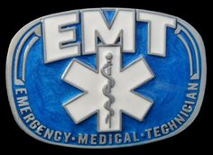 EMT BLUE EMERGENCY MEDICAL TECHNICIAN DOCTOR OCCUPATION BELT BUCKLE BELTS