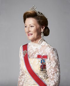 Her Majesty Queen Sonja of Norway. Queen Sonja, born Sonja Haraldsen on 4 July 1937. Married then Crown Prince Harald in Oslo Cathedral on 29 August 1968. Became queen on 17 January 1991. Consecrated in Nidaros Cathedral on 23 June 1991. Children: Princess Märtha Louise and Crown Prince Haakon.