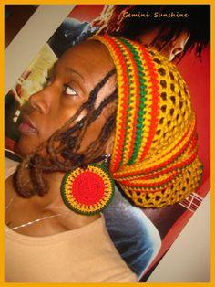 Mighty Dread Crochet Headwrap and Earrings by Geminisunshine, $40.00