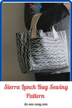 The Sierra lunch bag sewing pattern allows you to create two looks using one pattern. It's a great project to work on for both intermediate and beginner sewers. The Sierra lunch bag sewing pattern allows you to create two looks using one pattern. It's a great project to work on for both intermediate and beginner sewers. #lunchbag#sewingpatterns#lunchbagpatterns#easysewingpatterns#sewingproject Bag Patterns To Sew, Sewing Patterns, Insulated Lunch Bags, Little Bag, Pattern Making, Make It Simple, Create, Patron De Couture, Dress Patterns