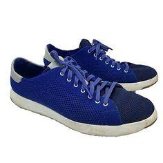 Cole Haan GrandPro Running Baskets Chaussures Gris En Daim Bleu Marine