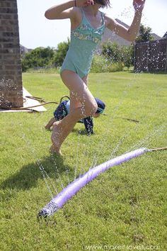 Make a SPRINKLER from an old POOL NOODLE...such a fun a colorful way to beat the summer heat!