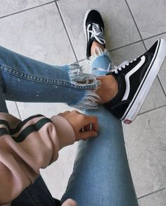 Old Skool vans and frayed hem jeans