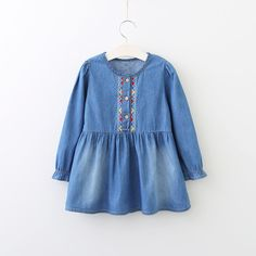 >> Click to Buy << Fashion Girls Clothes Long Sleeve Blue Demin Girl Dress Embroidery Children Dress Onepiece Autumn New Kids Wear #Affiliate