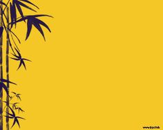 Free bamboo PowerPoint template background for presentations with a yellow background and bamboo