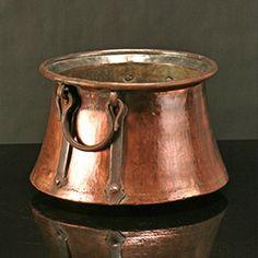 "Antique Flared Copper Cauldron - solid copper. 10""h x 13""dia"