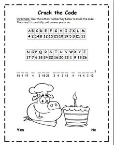 Freebie! This is bite size phonics cryptogram puzzle. In this activity, students will use a letter/number key to crack the code of an encrypted question with 'silent e' words. After decoding the question, they will read it for comprehension and circle 'Yes' or 'No' for their answer. The encrypted question is: Can a pig bake a cake?