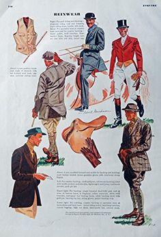 Men's Fashions, Vintage Print Ad. 30's Color Illustrations (Robert Goodman Art, reinwear-Horses) Original Rare 1938 Esquire Magazine Art