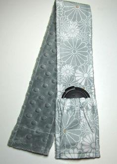 Elastic Pocket Camera Strap Cover Grey and White with Grey Minky. $18.99, via Etsy.