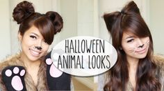 SO EASY!  DIY Halloween Costume Ideas | Bear & Cat Ears Hairstyle & Makeup Tutorial