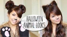 SO EASY!  DIY Halloween Costume Ideas | Bear & Cat Ears Hairstyle & Makeup Tutorial
