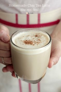 A rich homemade chai tea latte that's simple to make. A real deal chai tea latte with real ingredients. Includes instructions for pumpkin chai tea latte. Tea Recipes, Real Food Recipes, Cooking Recipes, Healthy Recipes, Copycat Recipes, Drink Recipes, Simple Recipes, Fast Recipes, Recipes Dinner