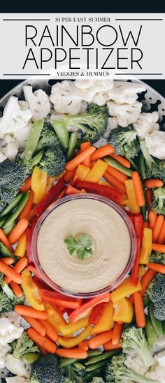 easy summer appetizer - this rainbow veggie hummus appetizer tray is so easy, perfect for a BBQ appetizer or a rainbow themed party sponsored by Sabra Dips Casserole Recipes, Pasta Recipes, Crockpot Recipes, Soup Recipes, Vegetarian Recipes, Chicken Recipes, Healthy Recipes, Potato Recipes, Bbq Appetizers