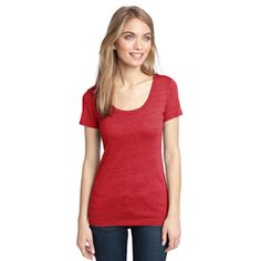 Ladies Textured Scoop Tee in New Red by District Clothing #DistrictClothing