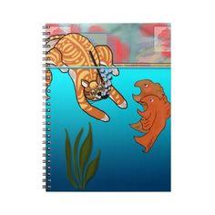 #funny #cartooncat #scaredfish #notebook