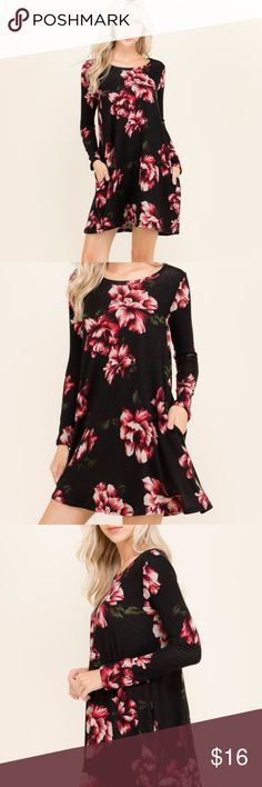Arriving! Black Floral Long Sleeve Mini Dress Beautiful contrasting colors, high quality material made right here in the US.  This dress will brighten up any crowd on any occasion. Jeve Boutique Dresses Mini