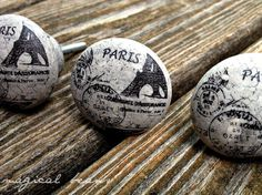 Vintage Inspired Ceramic Paris, France Grey & Back Decorative by MagicalBeansHome.com