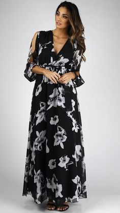 Floral Chiffon Long Sleeve Maxi Dress