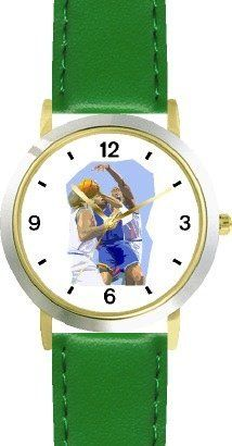 High Action Basketball Art No.3 Basketball Theme - WATCHBUDDY® DELUXE TWO-TONE THEME WATCH - Arabic Numbers - Green Leather Strap-Children's Size-Small ( Boy's Size & Girl's Size ) WatchBuddy. $49.95. Save 38% Off!
