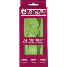 Lime Green Plastic Cutlery Set for 8