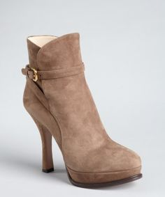 Prada : taupe suede buckle platform ankle boots