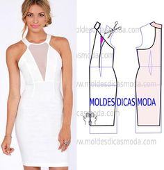 Analise de forma detalhada o desenho do molde vestido branco. Vestido simples e…