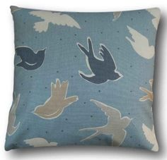 Cushion Cover Handmade With Clarke and Clarke's Seabirds Marine Blue Slipcover