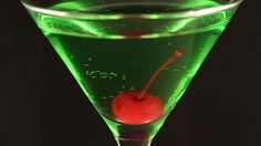 Green Cocktail Red Cherry on Black 6 ...  alcohol, alcoholic, bar, black, cherry, cocktail, drink, drinks, glass, green, martini, nightclub, red, rotate, rotating